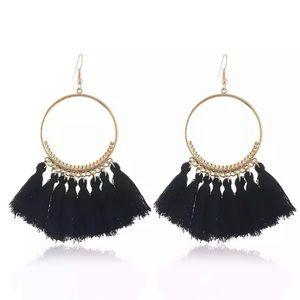 Jewelry - Black Tassel Fringe Earrings